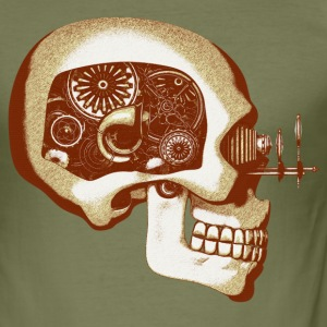 Steampunk Automaton / Robot Skull #6 T-Shirt - Slim Fit T-skjorte for menn