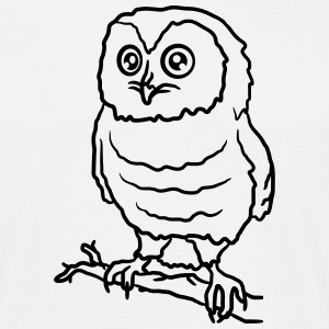 Beautiful cute owl on a branch T-Shirts - Men's T-Shirt