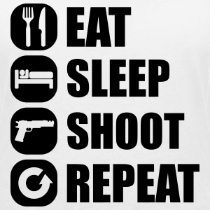eat_sleep_weapon_repeat_2_1f T-shirts - Vrouwen T-shirt met V-hals