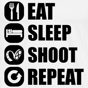 eat_sleep_shoot_repeat_6_1f T-Shirts - Männer Premium T-Shirt