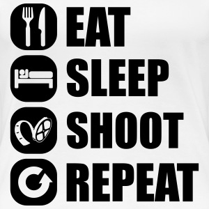 eat_sleep_shoot_repeat_6_1f T-Shirts - Frauen Premium T-Shirt