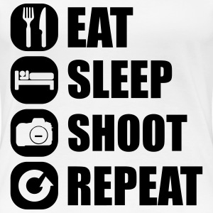 eat_sleep_shoot_repeat_1_1f T-Shirts - Frauen Premium T-Shirt