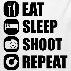 eat_sleep_shoot_repeat_1_1f Body neonato - Body ecologico per neonato a manica lunga