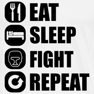 eat_sleep_fight_repeat_15_1f T-shirts - Mannen Premium T-shirt