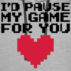 Pause My Game For You  Bluzy - Bluza męska Premium z kapturem