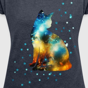 Space Pussy on the Milky Way, Galaxy, Cat, Star T-shirts - T-shirt med upprullade ärmar dam