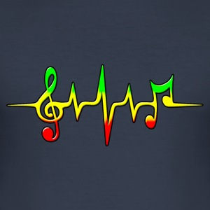Reggae, music, notes, pulse, frequency, Rastafari Magliette - Maglietta aderente da uomo