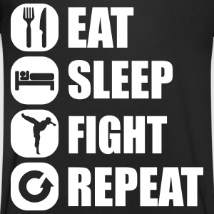eat_sleep_fight_repeat_4_1f Camisetas - Camiseta de pico hombre