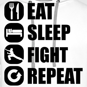 eat_sleep_fight_repeat_3_1f Hoodies & Sweatshirts - Men's Premium Hoodie