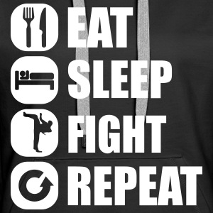 eat_sleep_fight_repeat_2_1f Hoodies & Sweatshirts - Women's Premium Hoodie