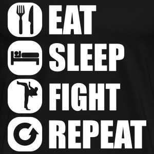 eat_sleep_fight_repeat_2_1f T-shirts - Mannen Premium T-shirt