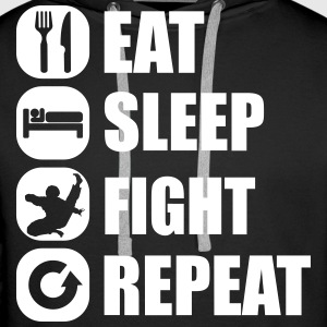 eat_sleep_fight_repeat_1_1f Hoodies & Sweatshirts - Men's Premium Hoodie