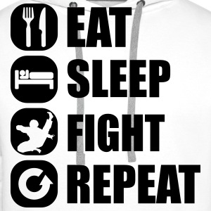 eat_sleep_fight_repeat_1_1f Pullover & Hoodies - Männer Premium Hoodie