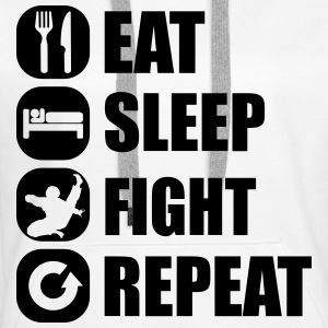 eat_sleep_fight_repeat_1_1f Bluzy - Bluza damska Premium z kapturem