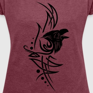 Rabe, raven, Tribal, Tattoo T-Shirts - Women's T-shirt with rolled up sleeves