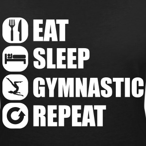 eat_sleep_gymnastic_repeat_6_1f T-shirts - Vrouwen T-shirt met V-hals
