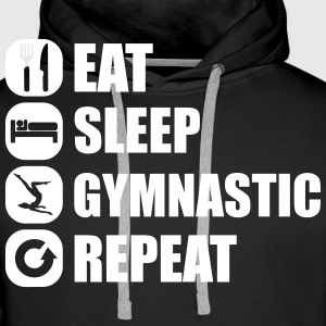 eat_sleep_gymnastic_repeat_6_1f Hoodies & Sweatshirts - Men's Premium Hoodie