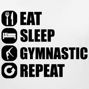 eat_sleep_gymnastic_repeat_4_1f T-shirts - Vrouwen T-shirt met V-hals