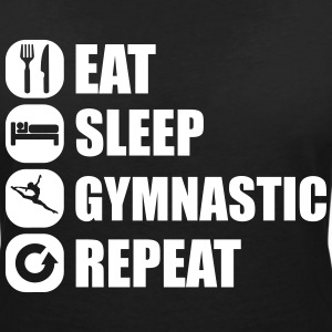 eat_sleep_gymnastic_repeat_2_1f Tee shirts - T-shirt col V Femme