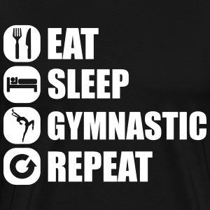 eat_sleep_gymnastic_repeat_1_1f T-shirts - Mannen Premium T-shirt