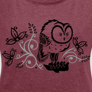 Eule mit Blumen, owl, floral T-Shirts - Women's T-shirt with rolled up sleeves