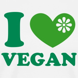 I heart vegan, vegetarien, organic green food, eco T-shirts - Mannen Premium T-shirt