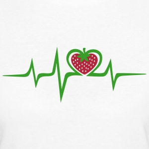 Heartbeat, heart strawberry, vegan, green pulse T- - Women's Organic T-shirt