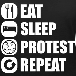 eat_sleep_fuck_protest_22_1f T-Shirts - Women's V-Neck T-Shirt