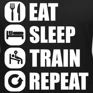 eat_sleep_train_repeat_16_1f Tee shirts - T-shirt col V Femme