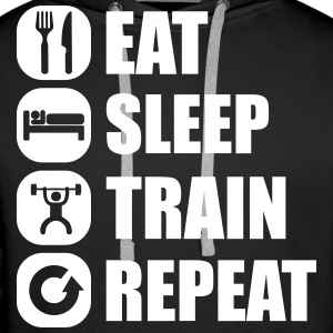 eat_sleep_train_repeat_15_1f Felpe - Felpa con cappuccio premium da uomo