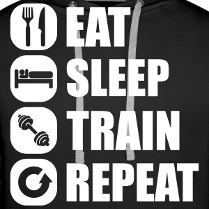 eat_sleep_train_repeat_11_1f Felpe - Felpa con cappuccio premium da uomo