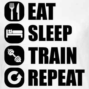 eat_sleep_train_repeat_11_1f Camisetas - Camiseta mujer