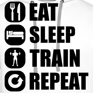 eat_sleep_train_repeat_10_1f Felpe - Felpa con cappuccio premium da uomo