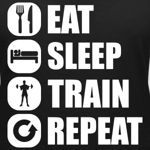 eat_sleep_train_repeat_10_1f T-Shirts - Women's V-Neck T-Shirt
