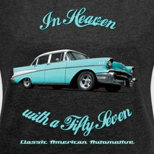 Womens roll-sleeve t-shirt | 57 Chevy Belair-2015  - Women's T-shirt with rolled up sleeves
