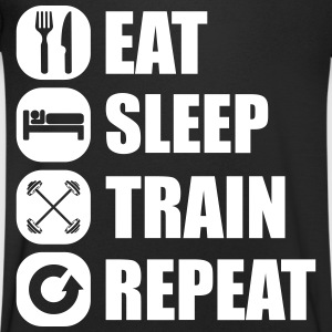 eat_sleep_train_repeat_7_1f Camisetas - Camiseta de pico hombre