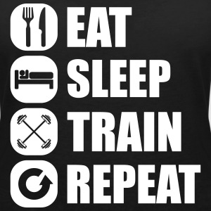 eat_sleep_train_repeat_7_1f T-Shirts - Women's V-Neck T-Shirt