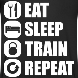 eat_sleep_train_repeat T-shirts - T-shirt med v-ringning herr