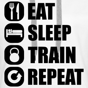 eat_sleep_train_repeat_6_1f Sweat-shirts - Sweat-shirt à capuche Premium pour femmes