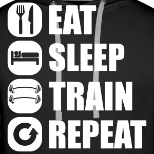 eat_sleep_train_repeat_5_1f Sweatshirts - Herre Premium hættetrøje