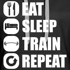 eat_sleep_train_repeat_4_1f Sweat-shirts - Sweat-shirt à capuche Premium pour femmes