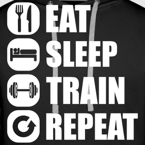 eat_sleep_train_repeat_2_1f Sweat-shirts - Sweat-shirt à capuche Premium pour hommes