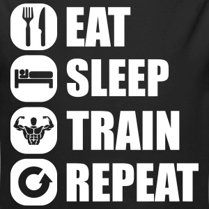 eat_sleep_train_repe Baby Bodys - Baby Bio-Langarm-Body