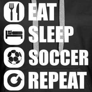 eat_sleep_soccer_repeat Felpe - Felpa con cappuccio premium da donna