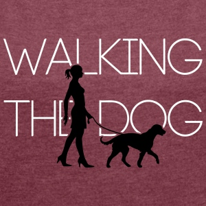 Walking the Dog -Big Dog 2C T-Shirts - Women's T-shirt with rolled up sleeves
