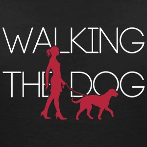 Walking the Dog -Big Dog 2C T-Shirts - Women's V-Neck T-Shirt