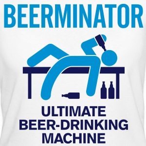 De Beerminator. Ultimate Drinking Machine! T-shirts - Vrouwen Bio-T-shirt