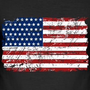 USA Flag - Vintage Look T-shirts - Slim Fit T-shirt herr