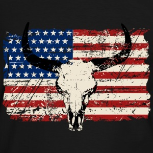 Buffalo Skull - USA Flag - Vintage Look Tee shirts - T-shirt contraste Homme