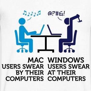 Mac users swear by their computers T-Shirts - Men's V-Neck T-Shirt
